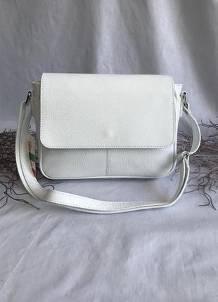 Сумка кожаная на длинном ремешке кросбоди, производство италия, белая genuine leather