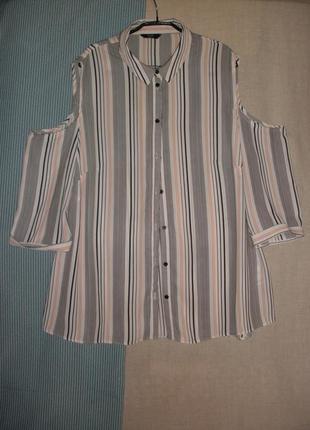 Свободная рубашка  блуза блузка f&f вырезы на плечах