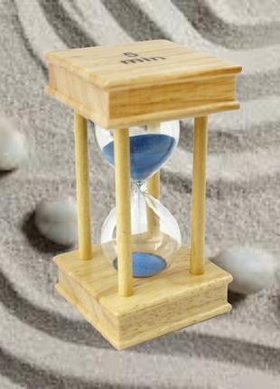 """Песочные часы квадрат"""" стекло + светлое дерево 5 минут"""