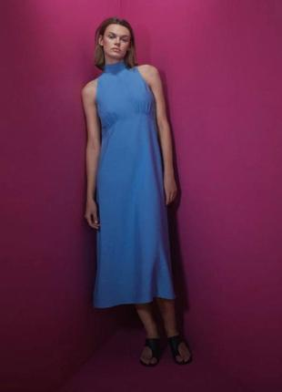 Платье лён zara, сукня миди