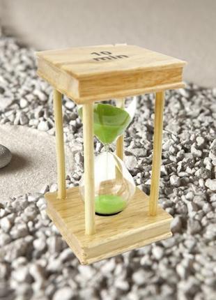 Песочные часы квадрат стекло + светлое дерево 10 минут