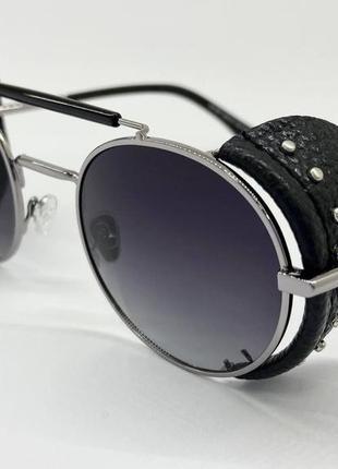 Очки женские солнцезащитные кругляшки с поляризоваными градиентными линзами и сьемными шорами