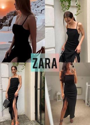 Платье zara, миди, сукня, с разрезом