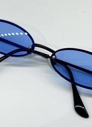 Очки женские солнцезащитные металические узкие овалы с синей линзой