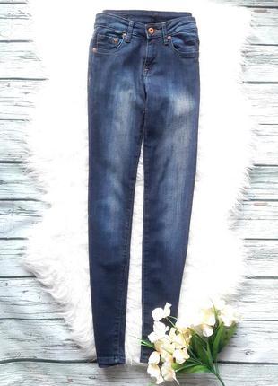 Темно синие зауженные узкие джинсы скини размер xs h&m