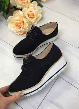 Хит осени! очаровательные черные туфли оксфорды р. 37-40