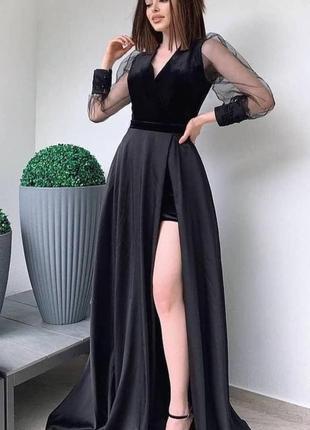 Элегантное чёрное платье в пол