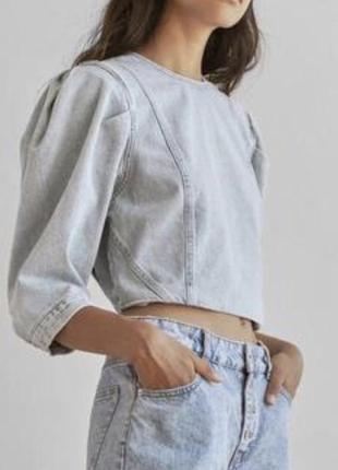Джинсова рубашка кроп