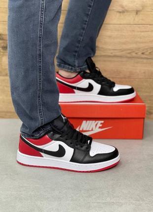 Мужские кроссовки  air jordan 1 low black/red