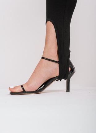 Женские лосины со штрипками черные6 фото