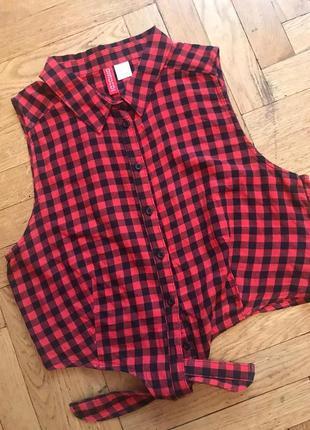 Короткая рубашка в клетку,хлопок,h&m