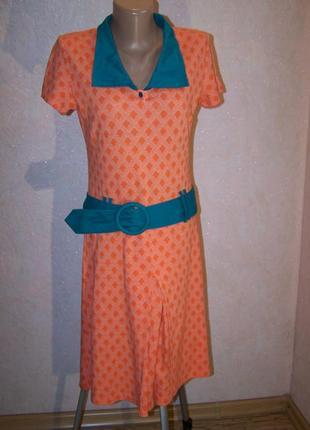 Оранжевое винтажное платье трикотаж под акцентный пояс 50%хлопок