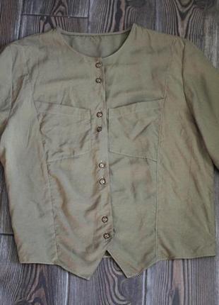 Вінтажна вкорочена блуза сорочка кольору хакі
