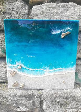 Картина морская море океан лагуна resin art лофт эпоксидная смола подарок сувенир