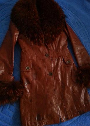 Кожаное утепленное пальто