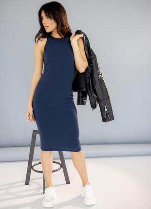 Приталенное платье в рубчик 3234