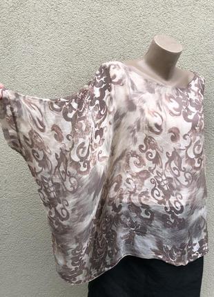 Шелк блуза-пончо,реглан,летучая мышь,разлетайка,большой размер,cartoon,италия