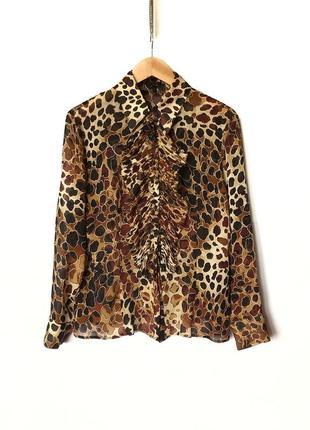 Шелковая леопардовая рубашка escada блуза marni
