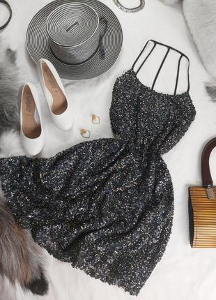 Шикарное нарядное вечернее платье с паетками1 фото