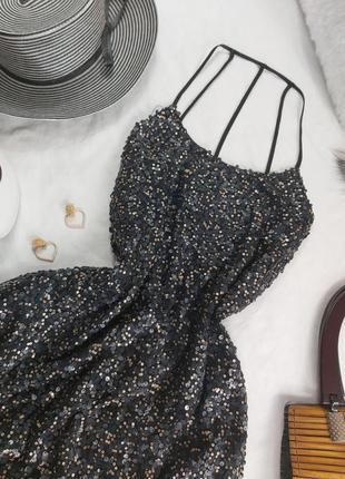 Шикарное нарядное вечернее платье с паетками3 фото