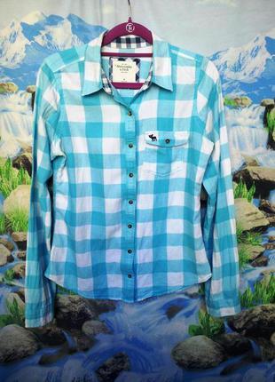Рубашка клетка бело- голубая  длинный рукав.наш 44-46р