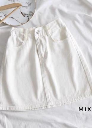 Юбка белая джинс джинсовая летняя мини хит тренд мастхев
