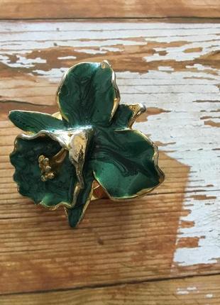 Брошь зажим винтаж орхидея цвет золото зелёный эмаль