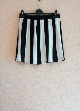 Полосатая, стильная юбка h&m, натуральная ткань