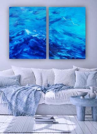 "Авторская картина диптих ""море вдвоём"", холст 70х100см (две по 70х50см), масло"