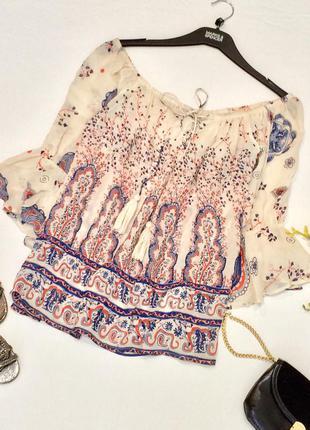 Стильна блуза topshop на шнурок з розширеними рукавами в принт