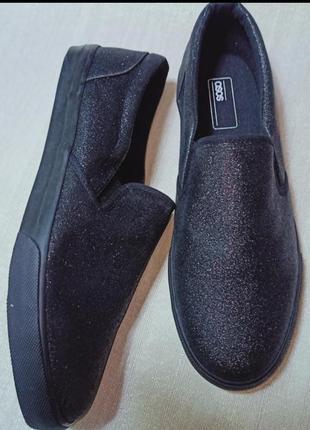 Черные кеды-слипоны с блестками asos размер 41 по стельке 27 см
