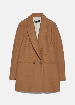 Шерстяное двубортное пальто, пиджак zara
