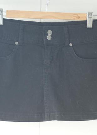 Юбка джинсовая черная bershka