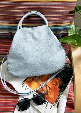 Женская кожаная (шкіряна) мягкая голубая сумка, borse in pelle италия