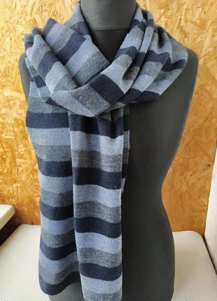 Полосатый шарф сине черный мягкий