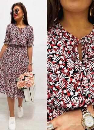 Женское платье миди натуральный штапель 🔥