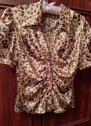 Леопардовая рубашка блузка анималистический принт леопардовый принт