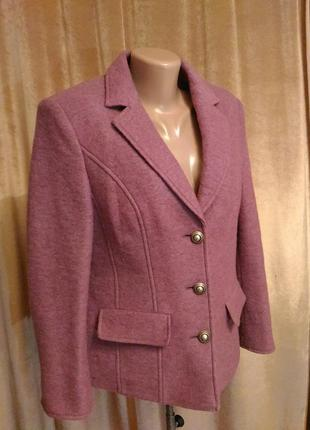 Тёплый сиренево-розовый пиджак, шерсть размер l-xl