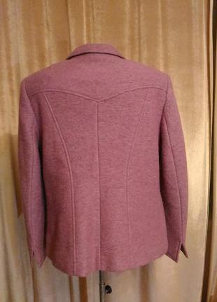 Тёплый сиренево-розовый пиджак, шерсть размер l-xl2 фото