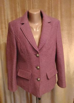 Тёплый сиренево-розовый пиджак, шерсть размер l-xl3 фото