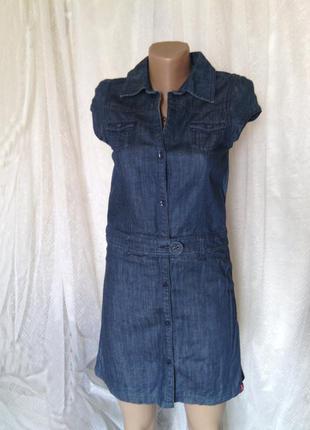 Джинсовый сарафан р xs-s, платье-рубашка на подростка девочку худеньку