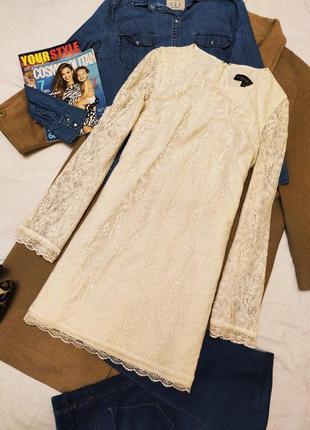Topshop платье кружевное гипюр кружевное бежевое кремовое