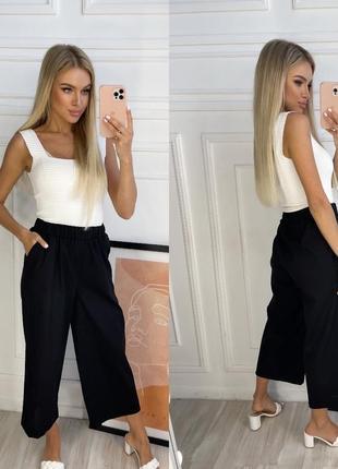 Женские модные брюки-кюлоты  лен