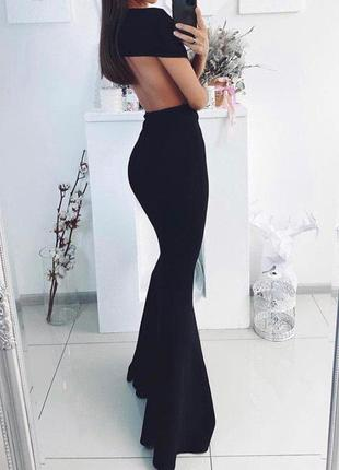 Роскошное вечернее черное платье макси рыбка с открытой спиной prettylittlething