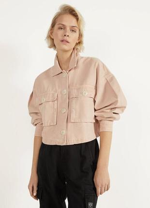 Джинсовка джинсовая курточка коттоновая розовая bershka
