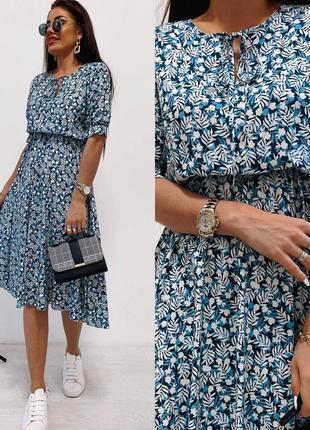Женское платье миди натуральный штапель