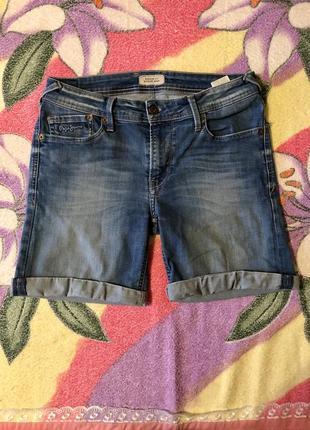 Шорты джинсовые с подворотом синие