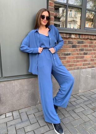 Костюм джинс синий костюм-тройка жатка хит тренд рубашка брюки топ кюлоты