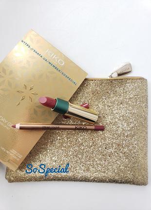 Подарочный набор для губ kiko milano holiday gems timeless lip kit 01