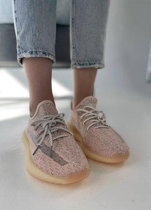 """Женские кроссовки adidas yeezy 350 v2 """"synth"""" reflective pink / розовые, рефлектив, премиум2 фото"""